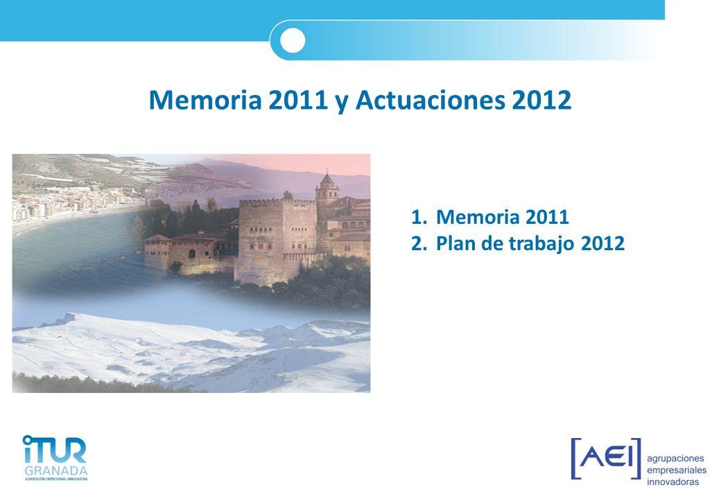Plan de trabajo 2012 6)Proyecto Plan Sostenible 7)Proyectos de impulso del Turismo de la Provincia de Granada 8)Proyecto Living Lab del Turismo 9)Participación en proyectos de otras AEI