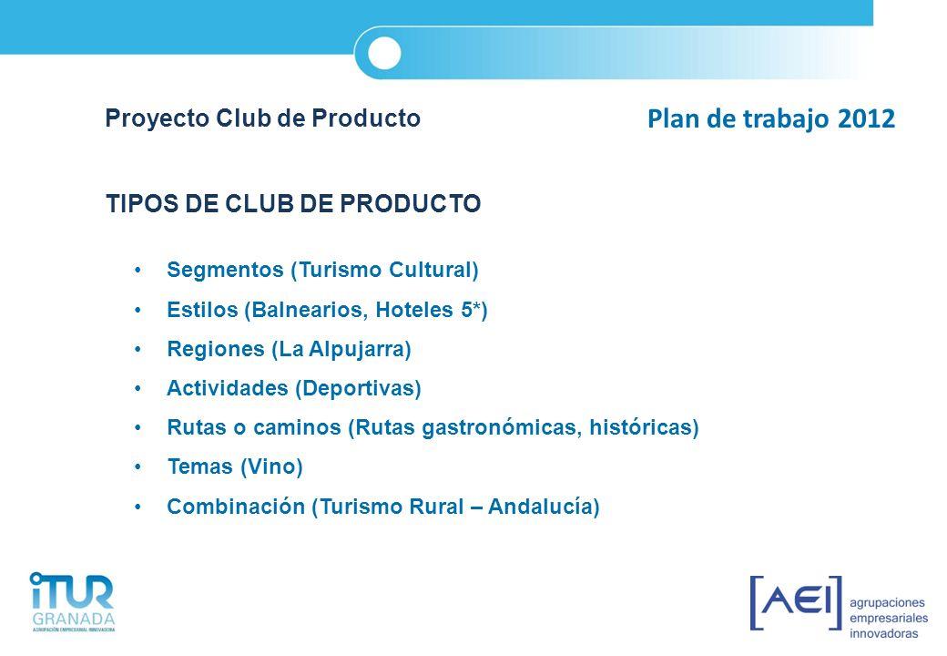 Plan de trabajo 2012 Proyecto Club de Producto TIPOS DE CLUB DE PRODUCTO Segmentos (Turismo Cultural) Estilos (Balnearios, Hoteles 5*) Regiones (La Al