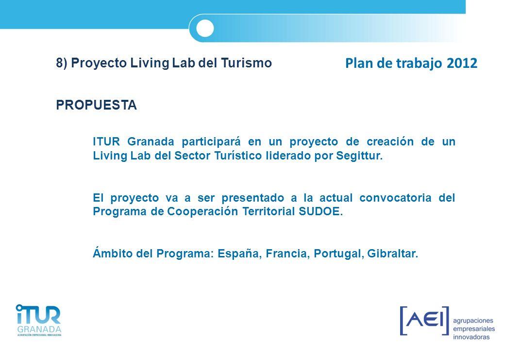 Plan de trabajo 2012 8) Proyecto Living Lab del Turismo PROPUESTA ITUR Granada participará en un proyecto de creación de un Living Lab del Sector Turí