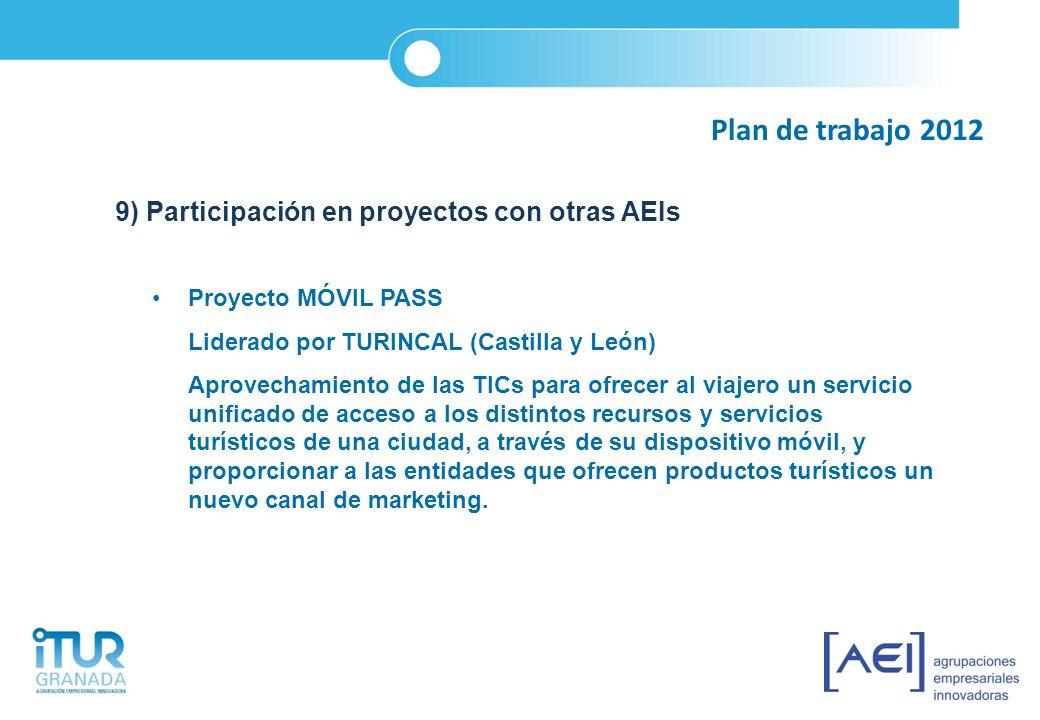 Plan de trabajo 2012 9) Participación en proyectos con otras AEIs Proyecto MÓVIL PASS Liderado por TURINCAL (Castilla y León) Aprovechamiento de las T