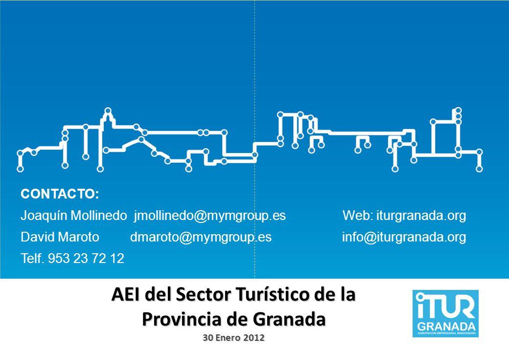AEI del Sector Turístico de la Provincia de Granada 30 Enero 2012 CONTACTO: Joaquín Mollinedo jmollinedo@mymgroup.es David Maroto dmaroto@mymgroup.es