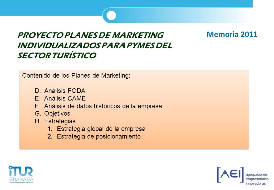 PROYECTO PLANES DE MARKETING INDIVIDUALIZADOS PARA PYMES DEL SECTOR TURÍSTICO Contenido de los Planes de Marketing: D.Análisis FODA E.Análisis CAME F.