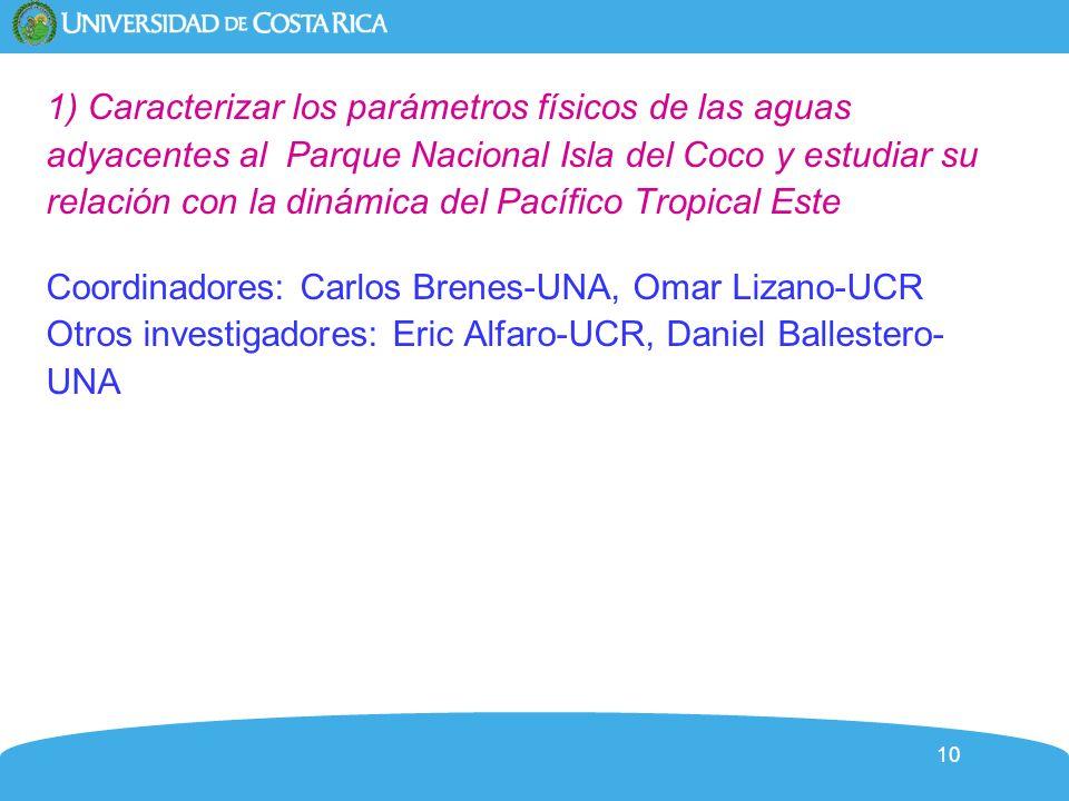 10 1) Caracterizar los parámetros físicos de las aguas adyacentes al Parque Nacional Isla del Coco y estudiar su relación con la dinámica del Pacífico