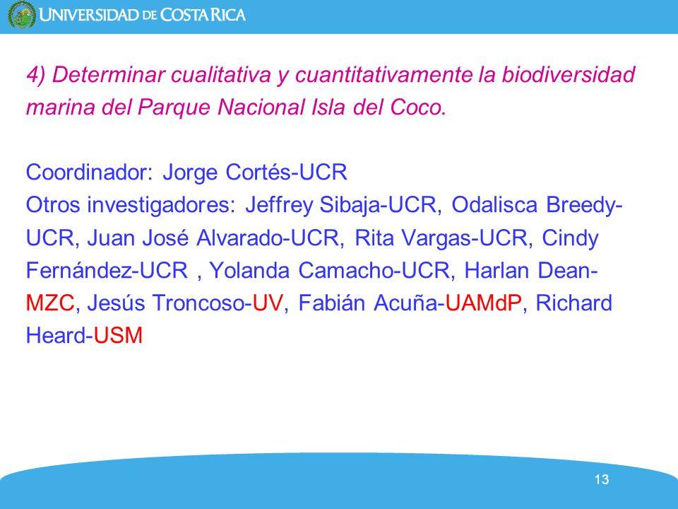 13 4) Determinar cualitativa y cuantitativamente la biodiversidad marina del Parque Nacional Isla del Coco. Coordinador: Jorge Cortés-UCR Otros invest