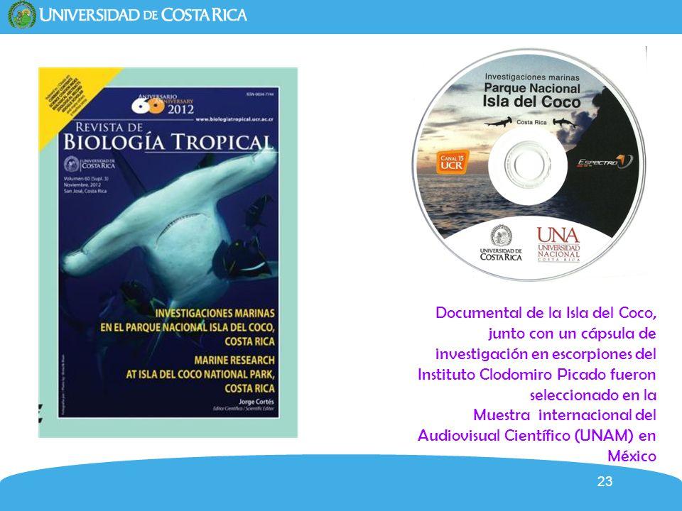 23 Documental de la Isla del Coco, junto con un cápsula de investigación en escorpiones del Instituto Clodomiro Picado fueron seleccionado en la Muest