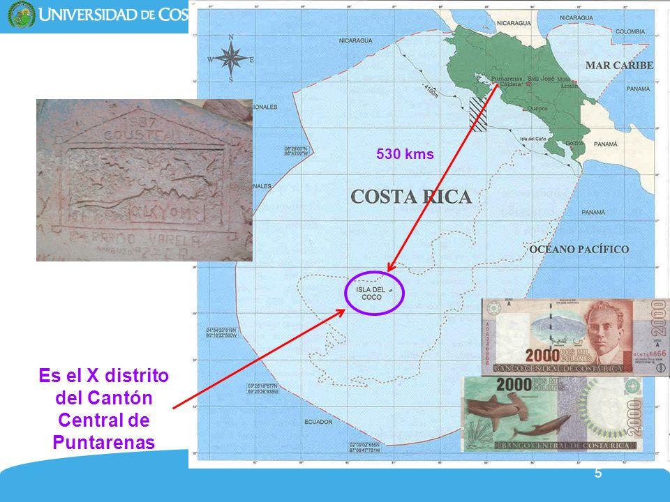 5 Es el X distrito del Cantón Central de Puntarenas 530 kms