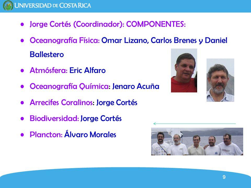 9 Jorge Cortés (Coordinador): COMPONENTES: Oceanografía Física: Omar Lizano, Carlos Brenes y Daniel Ballestero Atmósfera: Eric Alfaro Oceanografía Quí