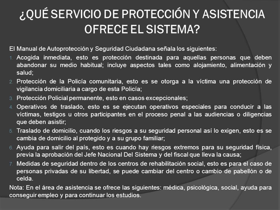 ¿QUÉ SERVICIO DE PROTECCIÓN Y ASISTENCIA OFRECE EL SISTEMA.