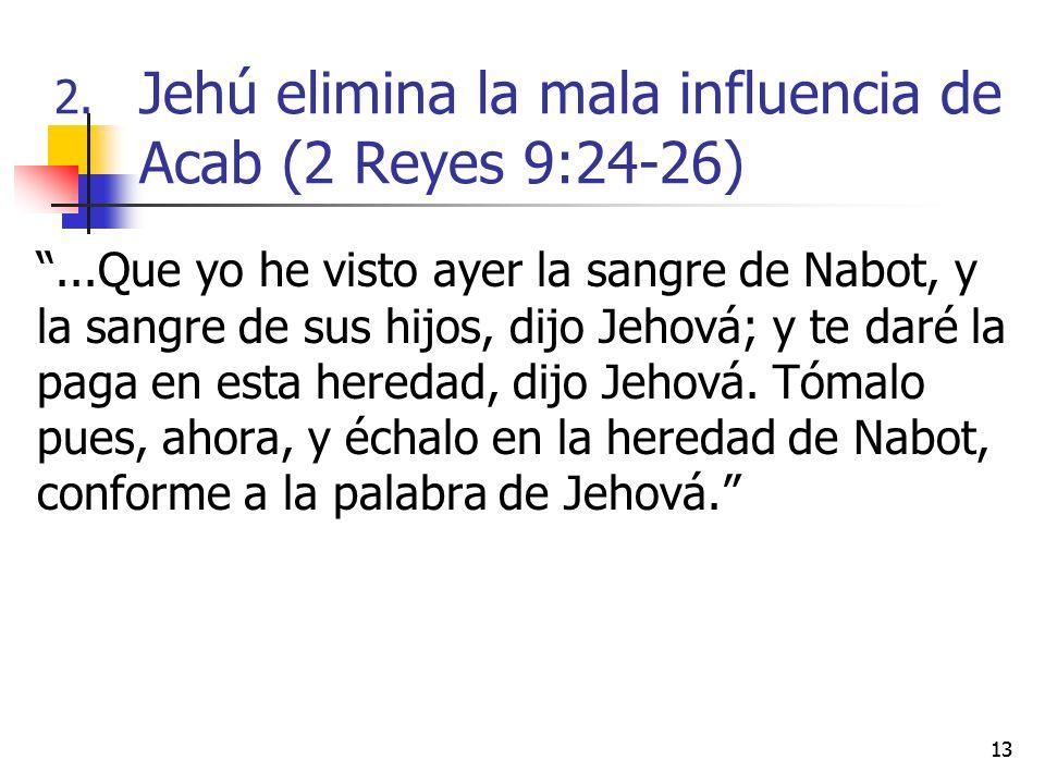 13...Que yo he visto ayer la sangre de Nabot, y la sangre de sus hijos, dijo Jehová; y te daré la paga en esta heredad, dijo Jehová. Tómalo pues, ahor