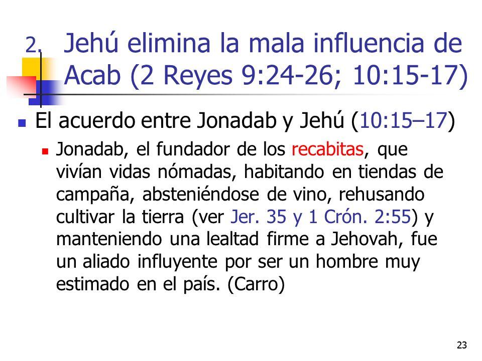 23 El acuerdo entre Jonadab y Jehú (10:15–17) Jonadab, el fundador de los recabitas, que vivían vidas nómadas, habitando en tiendas de campaña, absten