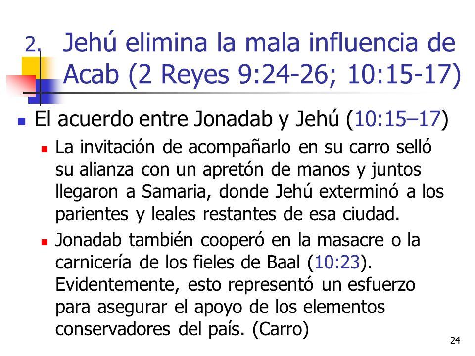 24 El acuerdo entre Jonadab y Jehú (10:15–17) La invitación de acompañarlo en su carro selló su alianza con un apretón de manos y juntos llegaron a Sa