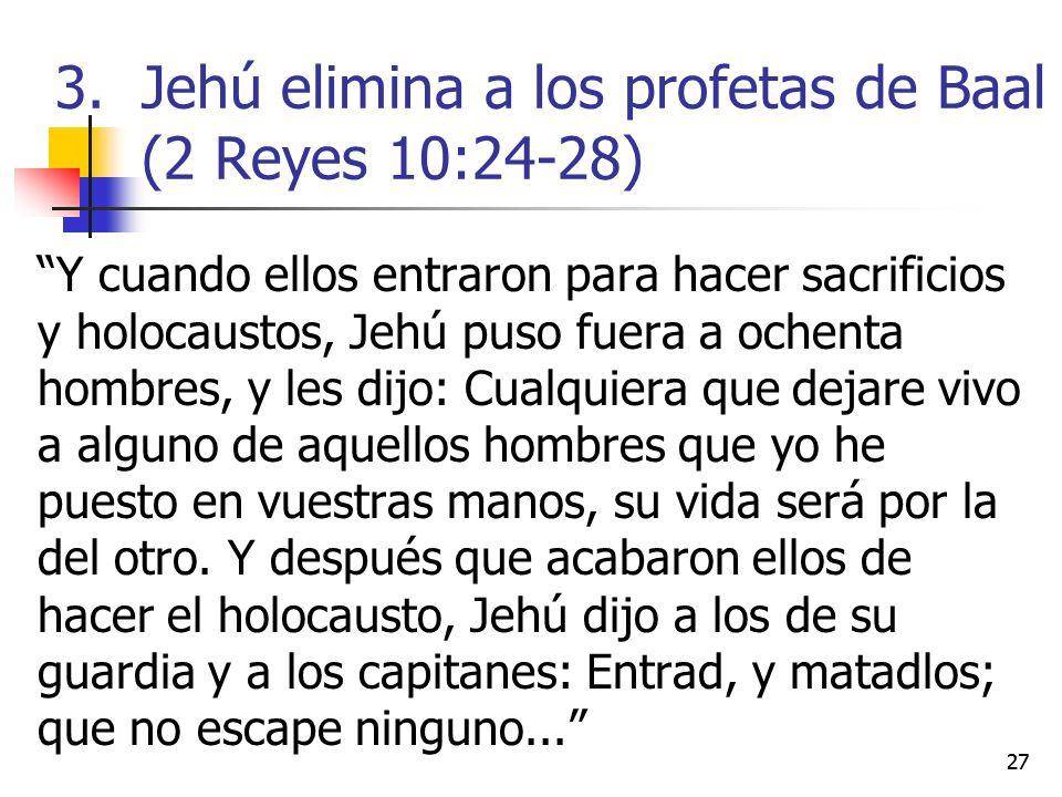 Y cuando ellos entraron para hacer sacrificios y holocaustos, Jehú puso fuera a ochenta hombres, y les dijo: Cualquiera que dejare vivo a alguno de aq