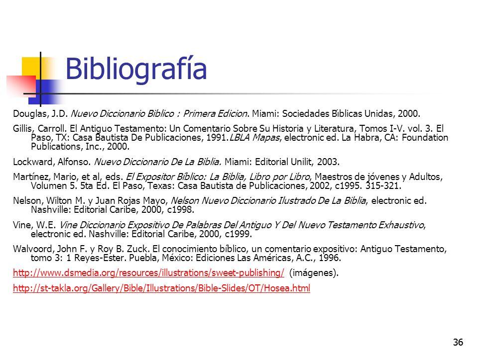 36 Bibliografía Douglas, J.D. Nuevo Diccionario Biblico : Primera Edicion. Miami: Sociedades Bı́blicas Unidas, 2000. Gillis, Carroll. El Antiguo Testa