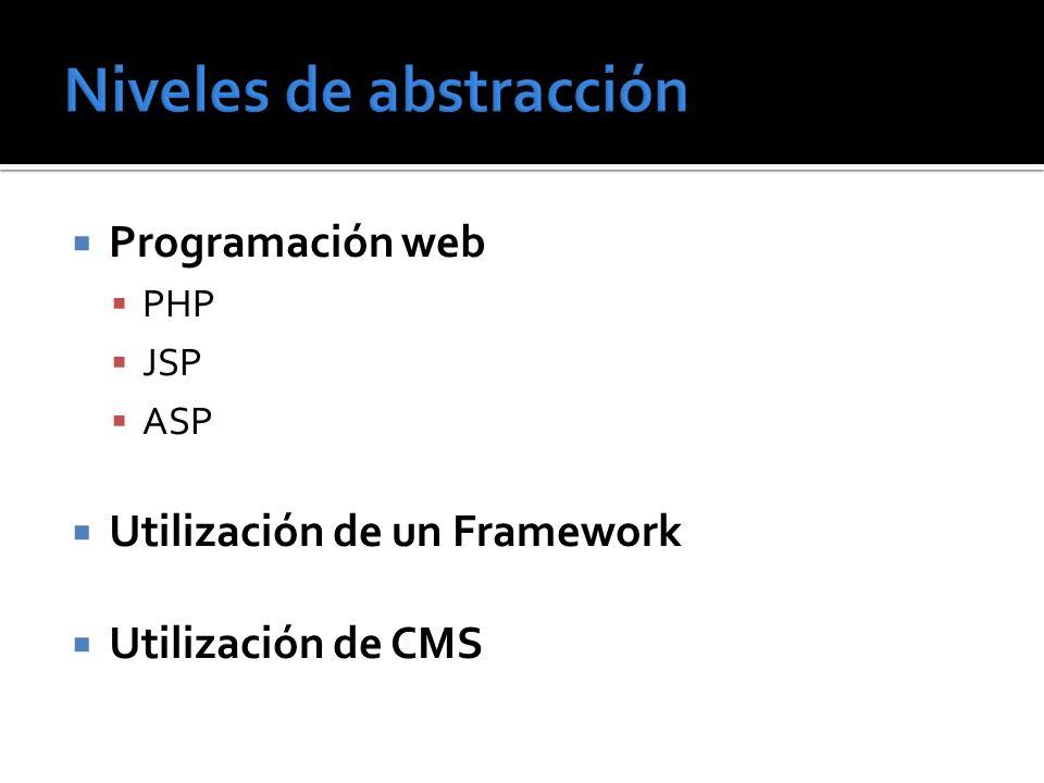 Programación web PHP JSP ASP Utilización de un Framework Utilización de CMS