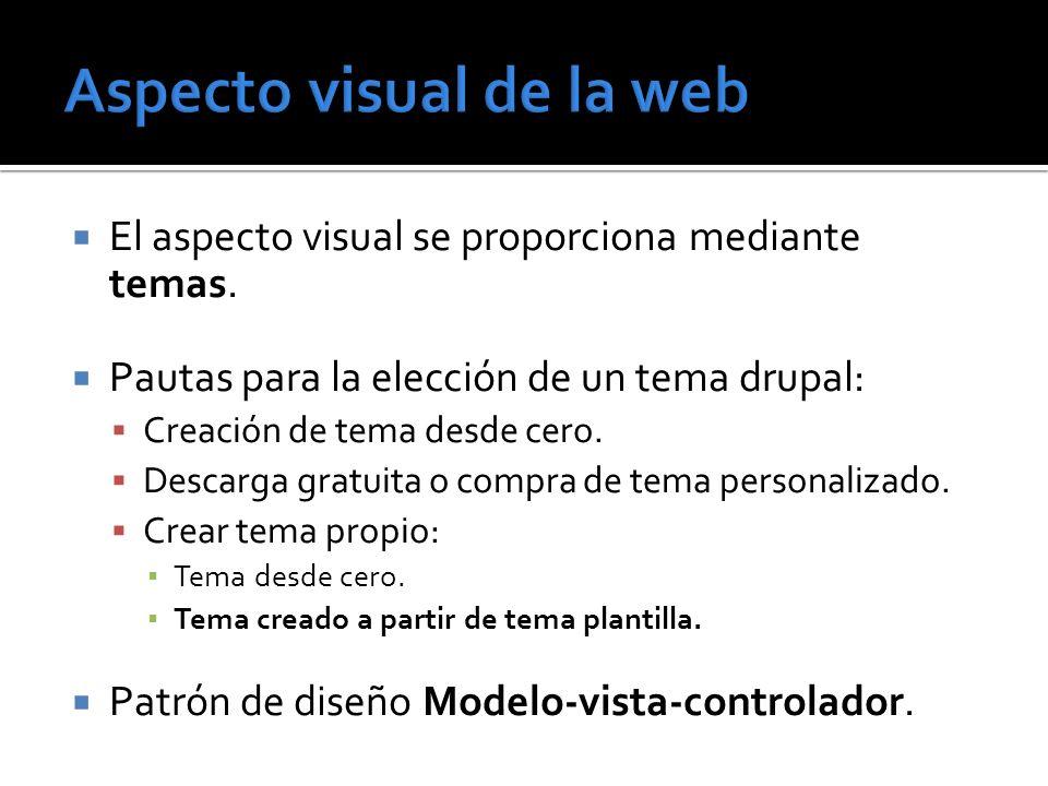 El aspecto visual se proporciona mediante temas. Pautas para la elección de un tema drupal: Creación de tema desde cero. Descarga gratuita o compra de