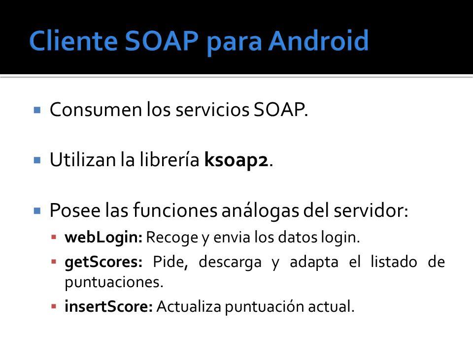 Consumen los servicios SOAP. Utilizan la librería ksoap2. Posee las funciones análogas del servidor: webLogin: Recoge y envia los datos login. getScor