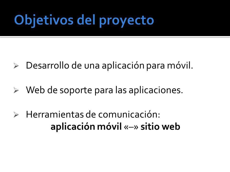 Desarrollo de una aplicación para móvil. Web de soporte para las aplicaciones. Herramientas de comunicación: aplicación móvil «–» sitio web
