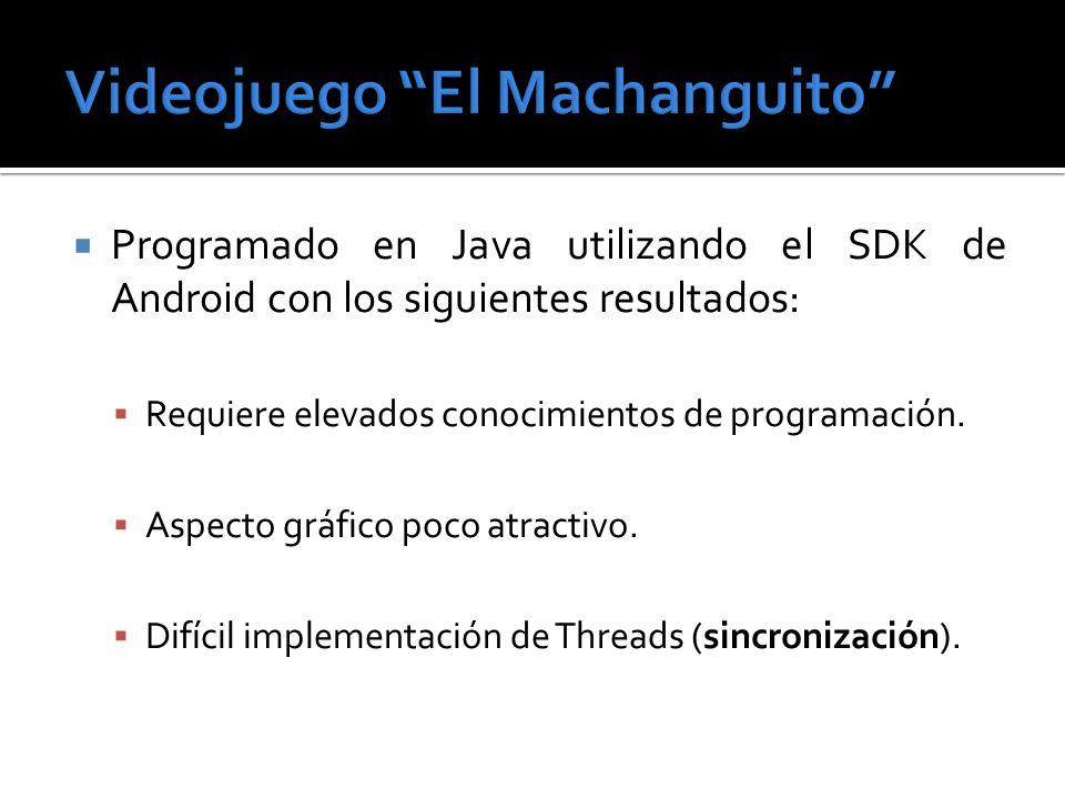 Programado en Java utilizando el SDK de Android con los siguientes resultados: Requiere elevados conocimientos de programación. Aspecto gráfico poco a