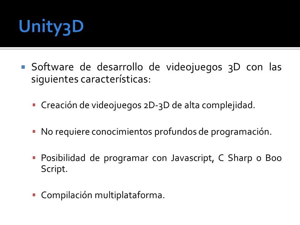 Software de desarrollo de videojuegos 3D con las siguientes características: Creación de videojuegos 2D-3D de alta complejidad. No requiere conocimien