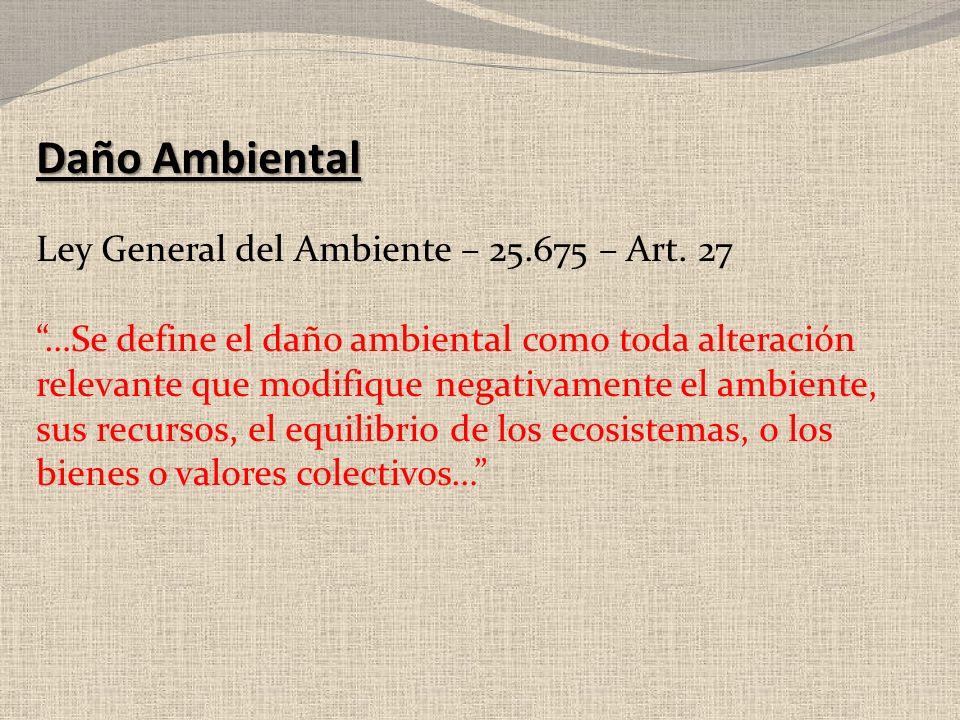 Daño Ambiental Ley General del Ambiente – 25.675 – Art. 27 …Se define el daño ambiental como toda alteración relevante que modifique negativamente el