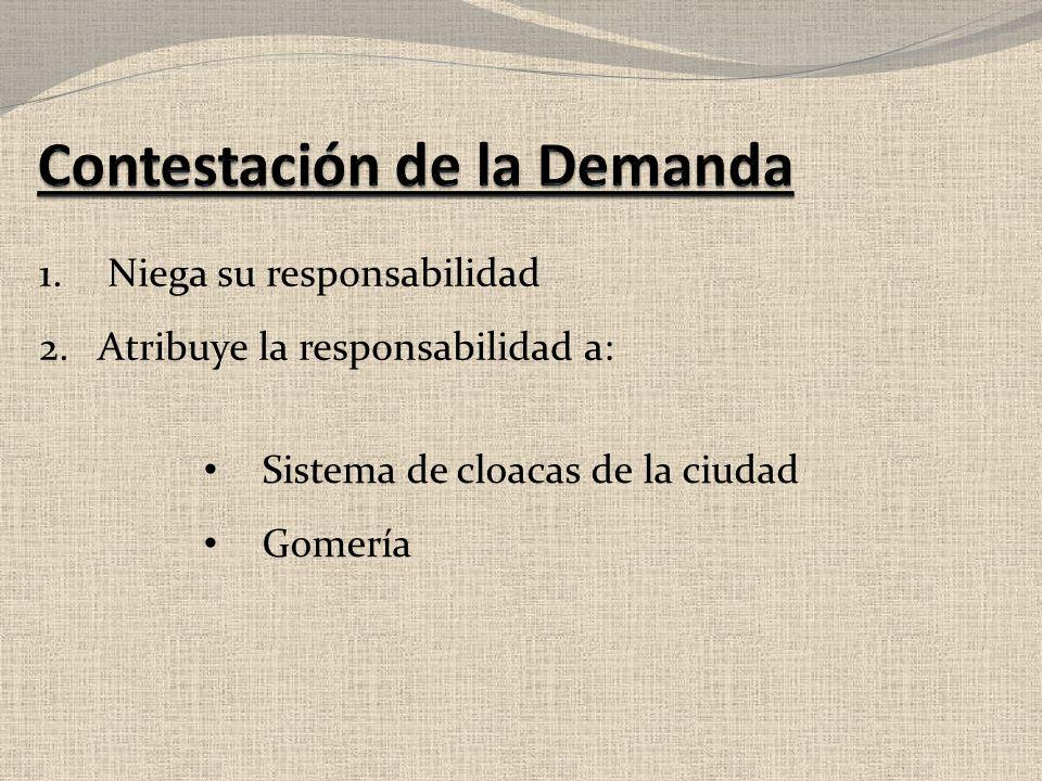1. Niega su responsabilidad 2.Atribuye la responsabilidad a: Sistema de cloacas de la ciudad Gomería