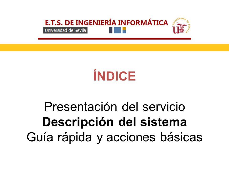 ÍNDICE Presentación del servicio Descripción del sistema Guía rápida y acciones básicas