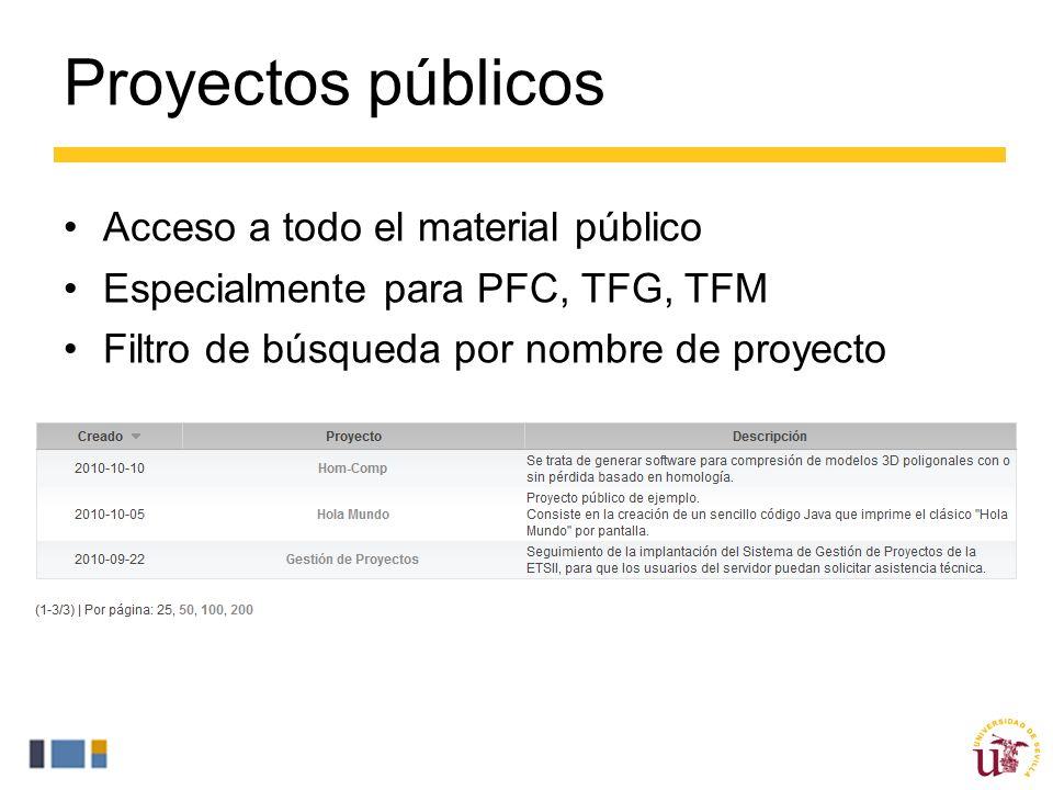 Proyectos públicos Acceso a todo el material público Especialmente para PFC, TFG, TFM Filtro de búsqueda por nombre de proyecto