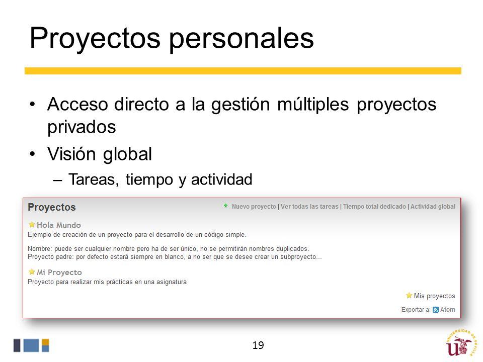 Proyectos personales Acceso directo a la gestión múltiples proyectos privados Visión global –Tareas, tiempo y actividad 19