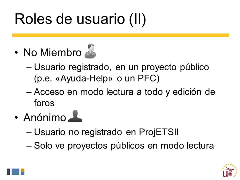 Roles de usuario (II) No Miembro –Usuario registrado, en un proyecto público (p.e.