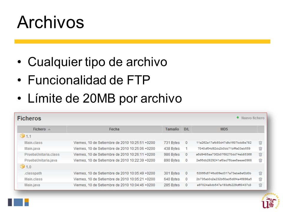 Archivos Cualquier tipo de archivo Funcionalidad de FTP Límite de 20MB por archivo