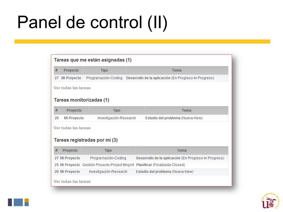 Panel de control (II)