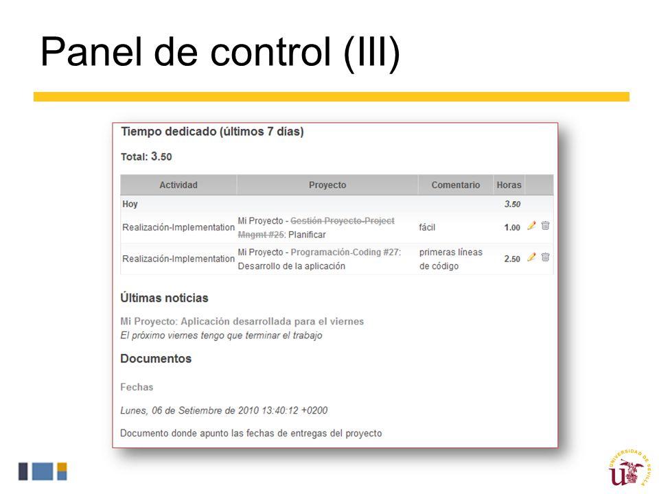 Panel de control (III)