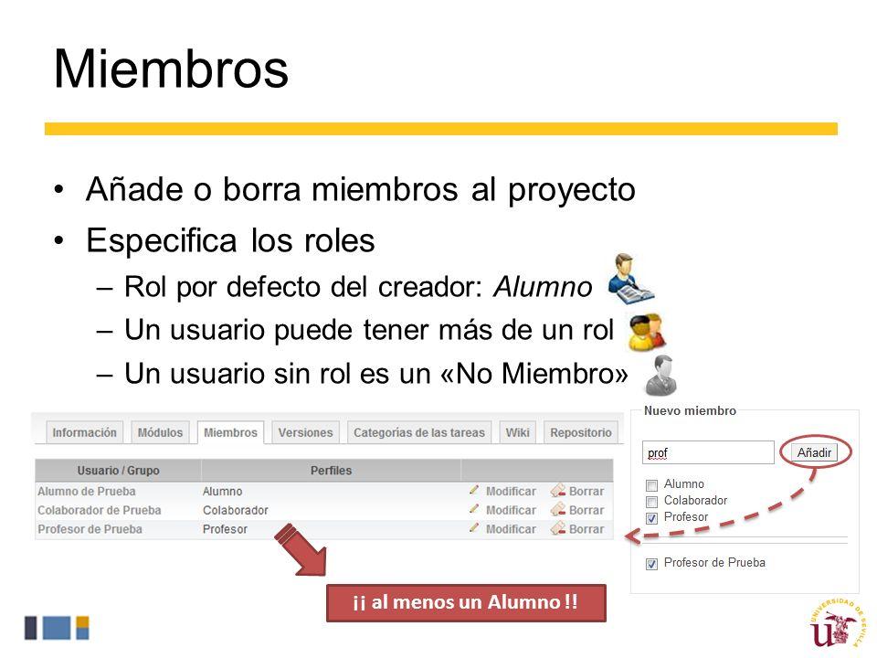 Miembros Añade o borra miembros al proyecto Especifica los roles –Rol por defecto del creador: Alumno –Un usuario puede tener más de un rol –Un usuario sin rol es un «No Miembro» ¡¡ al menos un Alumno !!