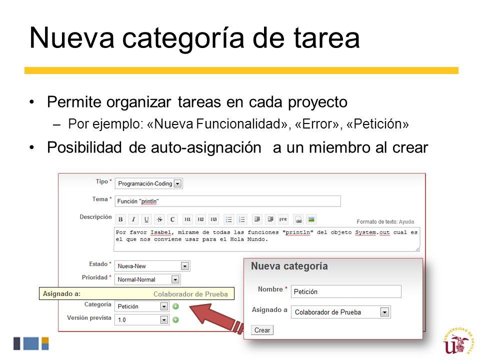 Nueva categoría de tarea Permite organizar tareas en cada proyecto –Por ejemplo: «Nueva Funcionalidad», «Error», «Petición» Posibilidad de auto-asignación a un miembro al crear