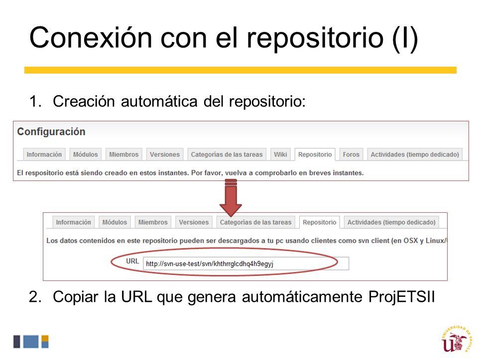 Conexión con el repositorio (I) 1.Creación automática del repositorio: 2.Copiar la URL que genera automáticamente ProjETSII