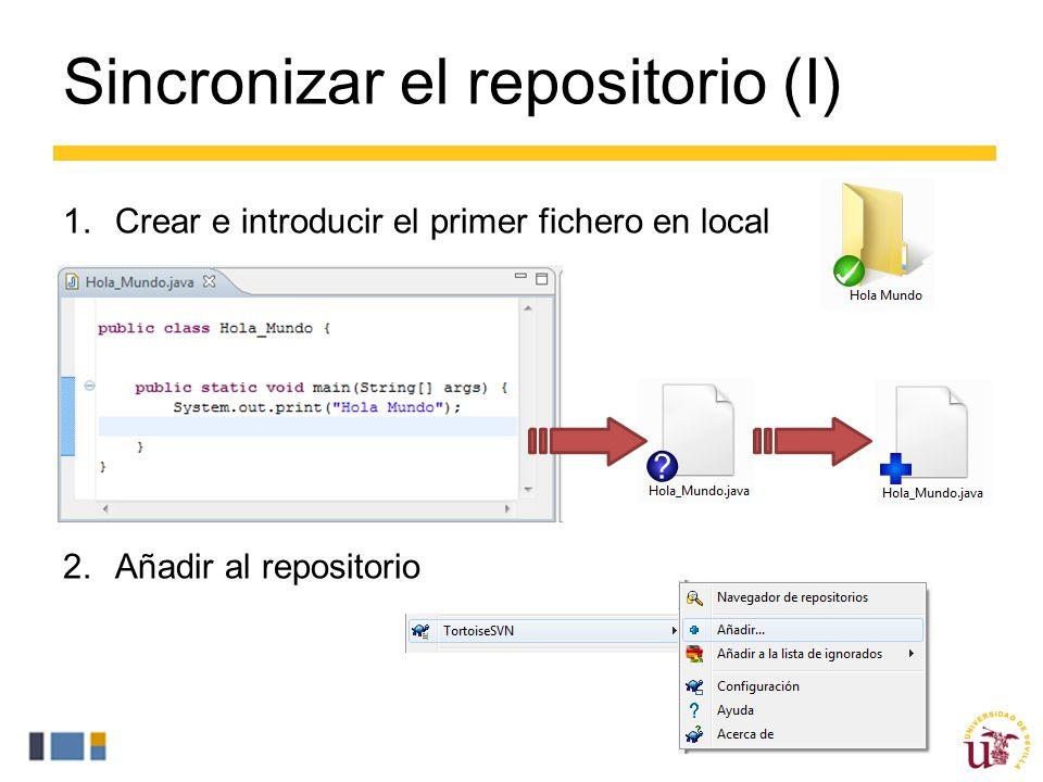 Sincronizar el repositorio (I) 1.Crear e introducir el primer fichero en local 2.Añadir al repositorio
