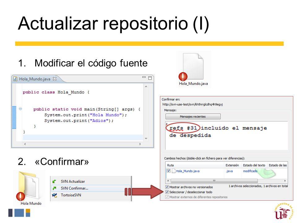 Actualizar repositorio (I) 1.Modificar el código fuente 2.«Confirmar»