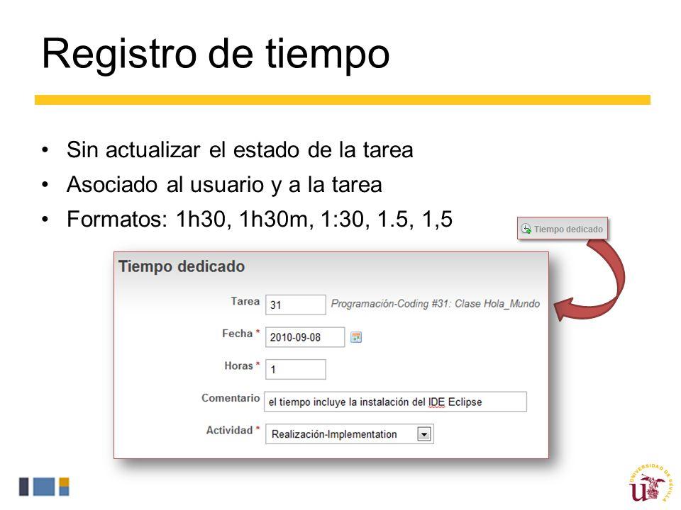 Registro de tiempo Sin actualizar el estado de la tarea Asociado al usuario y a la tarea Formatos: 1h30, 1h30m, 1:30, 1.5, 1,5