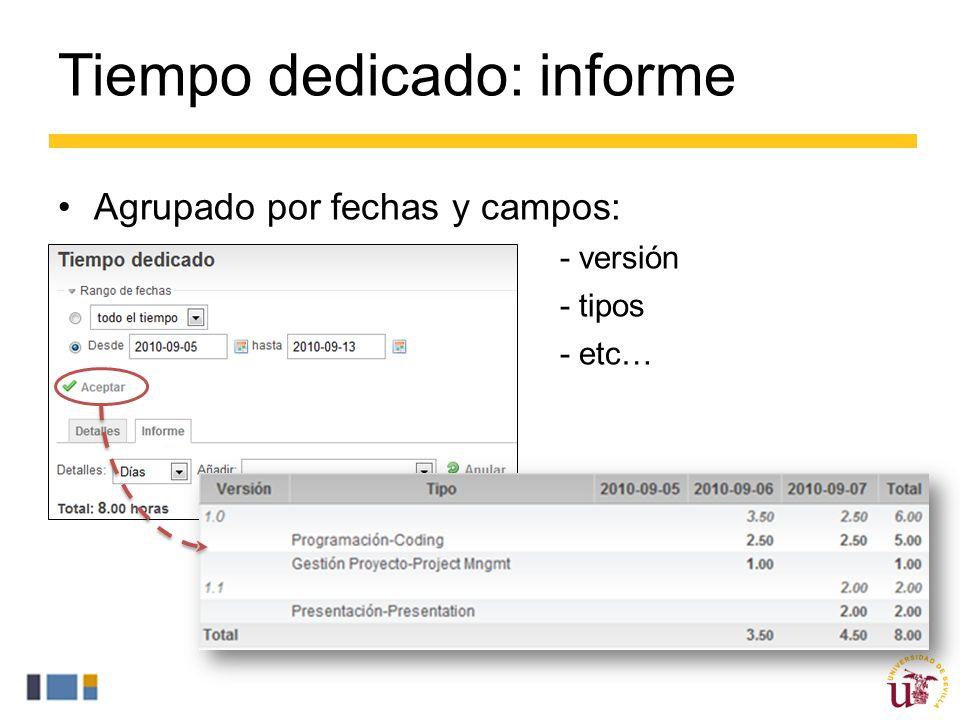 Tiempo dedicado: informe Agrupado por fechas y campos: – - versión – - tipos – - etc…