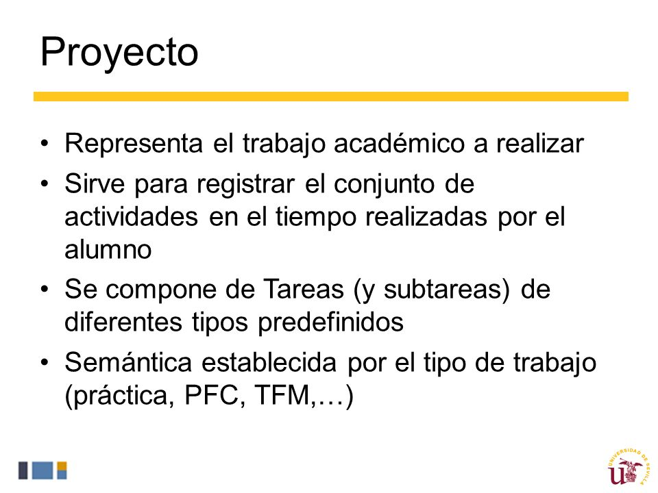 Proyecto Representa el trabajo académico a realizar Sirve para registrar el conjunto de actividades en el tiempo realizadas por el alumno Se compone de Tareas (y subtareas) de diferentes tipos predefinidos Semántica establecida por el tipo de trabajo (práctica, PFC, TFM,…)