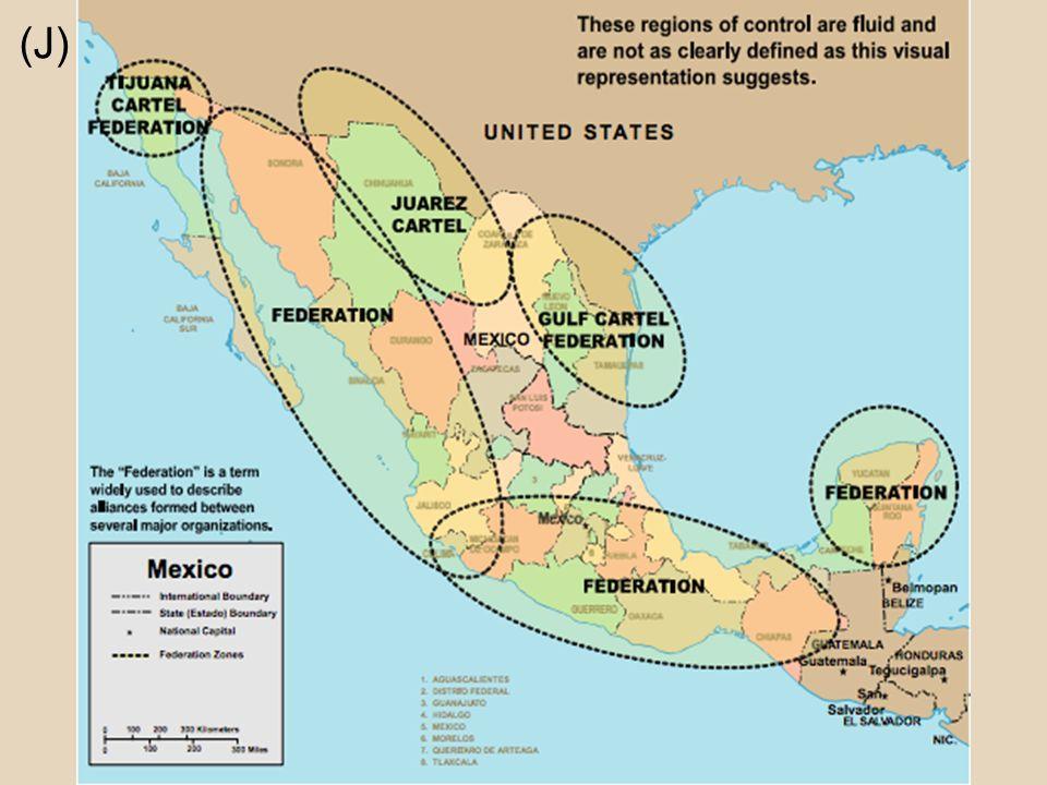 Miguel Ángel Félix Gallardo (J) Forma el cártel de Guadalajara Controló todo el narcotráfico en México Dividío su territorio Por eso hay cárteles diferentes hoy Los cárteles peleaban para el poder y el territorio