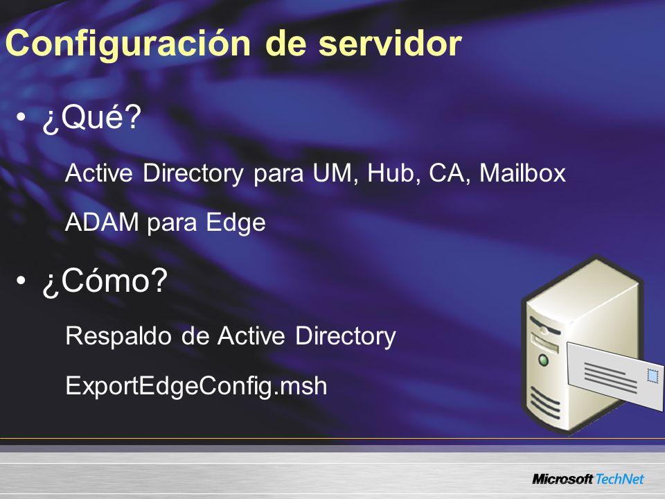 Configuración de servidor ¿Qué? Active Directory para UM, Hub, CA, Mailbox ADAM para Edge ¿Cómo? Respaldo de Active Directory ExportEdgeConfig.msh