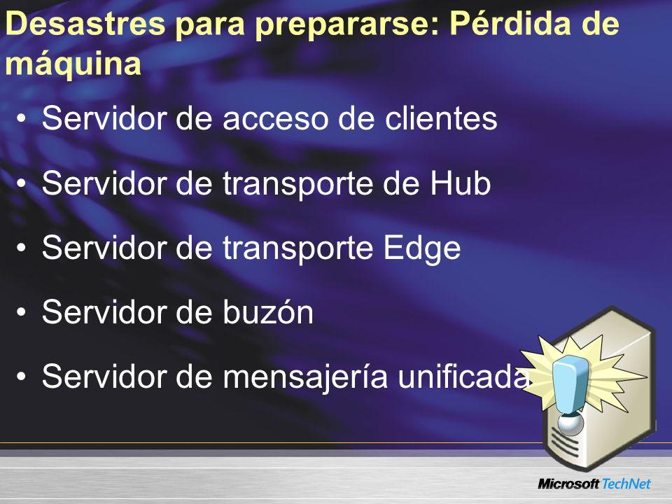 Desastres para prepararse: Pérdida de máquina Servidor de acceso de clientes Servidor de transporte de Hub Servidor de transporte Edge Servidor de buz