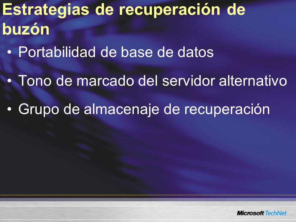 Estrategias de recuperación de buzón Portabilidad de base de datos Tono de marcado del servidor alternativo Grupo de almacenaje de recuperación