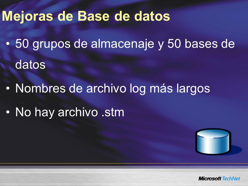 Mejoras de Base de datos 50 grupos de almacenaje y 50 bases de datos Nombres de archivo log más largos No hay archivo.stm