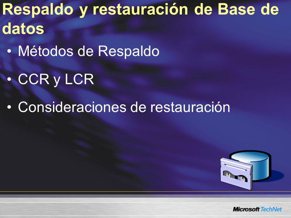 Respaldo y restauración de Base de datos Métodos de Respaldo CCR y LCR Consideraciones de restauración