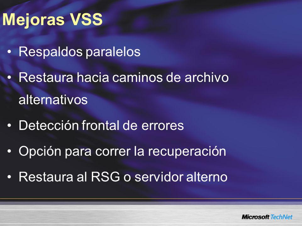Mejoras VSS Respaldos paralelos Restaura hacia caminos de archivo alternativos Detección frontal de errores Opción para correr la recuperación Restaur