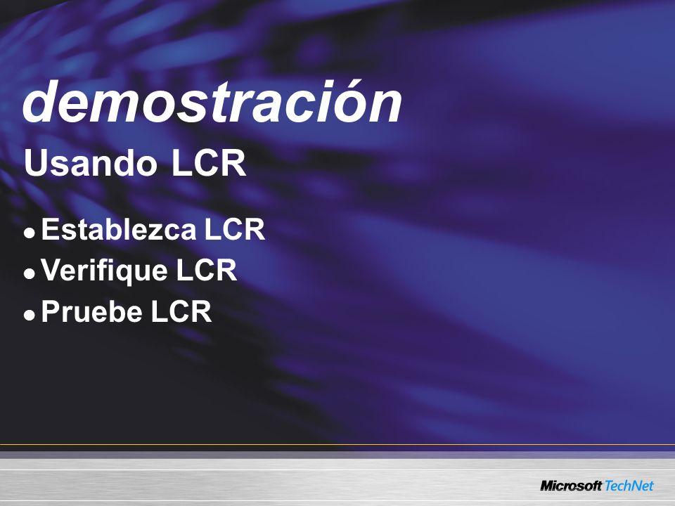 Demo Usando LCR Establezca LCR Verifique LCR Pruebe LCR demostración