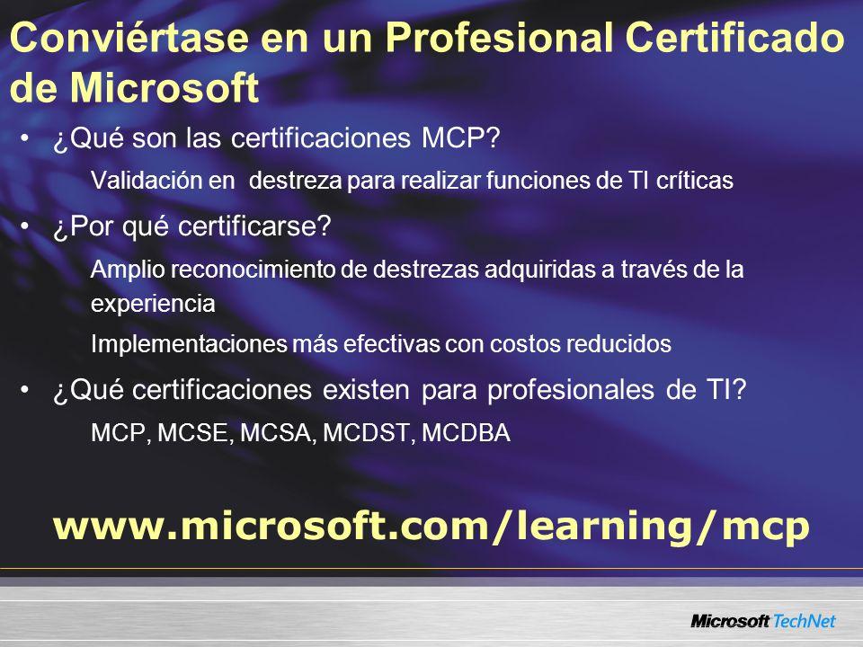 Conviértase en un Profesional Certificado de Microsoft ¿Qué son las certificaciones MCP? Validación en destreza para realizar funciones de TI críticas
