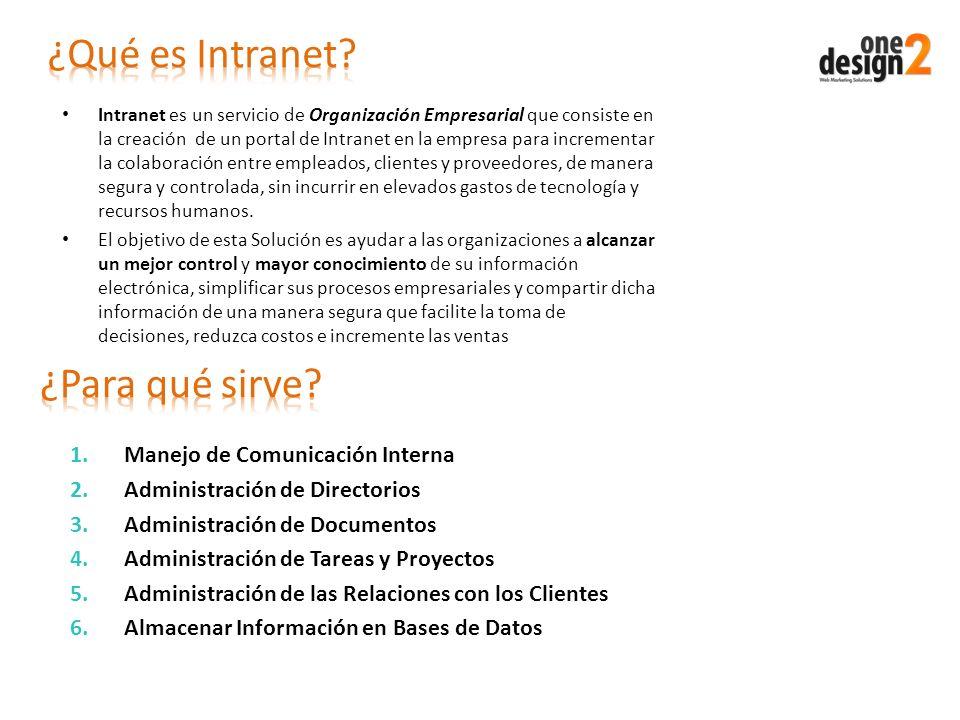 Intranet es un servicio de Organización Empresarial que consiste en la creación de un portal de Intranet en la empresa para incrementar la colaboració